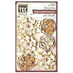 Flores Artesanais com Pérola Nude 15164 Toke e Crie