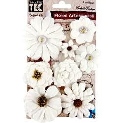 Flores Artesanais II Vintage 13404 (FLOR69) Branca com 8 unidades