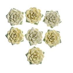 Flores Artesanais Rosas Algodão Doce - Amarelo 17768 Toke e Crie