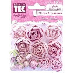 Flores Artesanais Rosas Mistas Toke e Crie Delicada 16959 com 16 unidades
