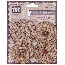 Flores Artesanais Vintage Kraft 14946 Toke e Crie com 4 unidades