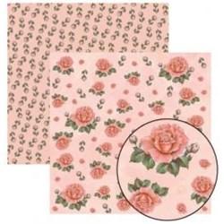 Folha Dupla Face Scrapbooking  11915(SDF221) Rosas Botões FD Salmão