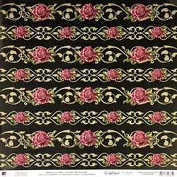 Folha Dupla Face Scrapbooking  13309(SDF302) Rosas Púrpuras Barrinhas