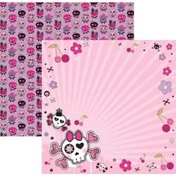 Folha Dupla Face Scrapbooking  15452 (SDF449) Caveiras Pink Floral