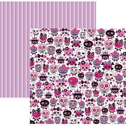 Folha Dupla Face Scrapbooking  15453 (SDF450) Caveiras Pink Divertidas