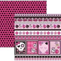 Folha Dupla Face Scrapbooking 15454 (SDF451) Caveiras Pink Barrinhas