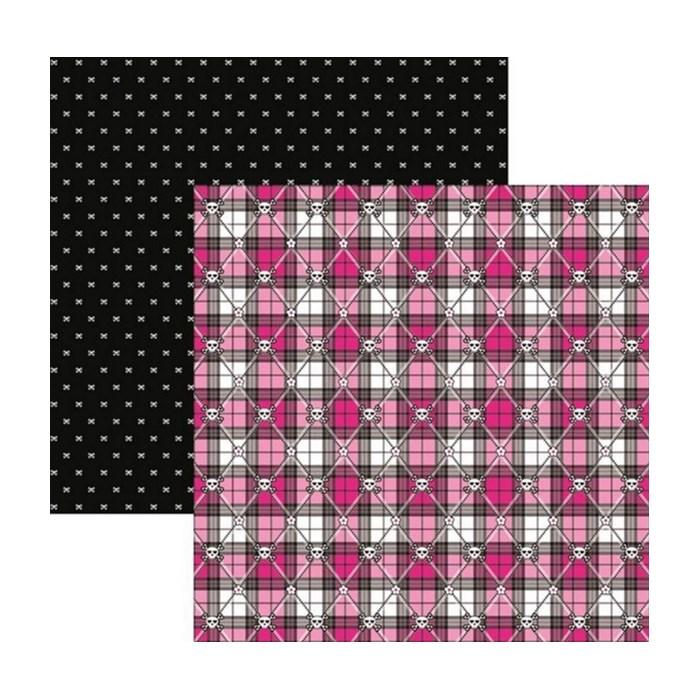 Folha Dupla Face Scrapbooking  15455 (SDF452) Caveiras Pink Xadrez