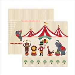 Folha Dupla Face Scrapbooking  17899(SDF644)Circo Vintage Cenário