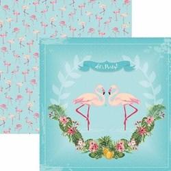 Folha Dupla Face Scrapbooking 20228 (SDF747) Flamingos Guirlanda