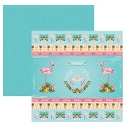 Folha Dupla Face Scrapbooking 20230 (SDF749) Flamingos Fitas e Rótulos