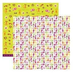 Folha Dupla Face Scrapbooking 9659(SDF102) Gatos Espinhas de Peixe