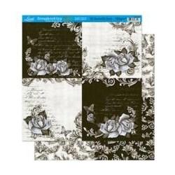 Folha Dupla Face Scrapbooking Lili Negrão SD1-008 Rosas e Textos