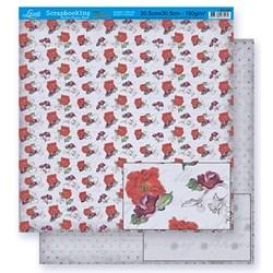 Folha Dupla Face Scrapbooking Lili Negrão SD1-026 Flores Vermelhas e Poá