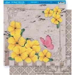 Folha Dupla Face Scrapbooking Lili Negrão SD1-037 Flores Amarelas