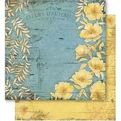 Folha Dupla Face Scrapbooking Lili Negrão SD1-049 Flores Amarelas e Folhas Secas