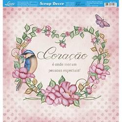 Folha Dupla Face Scrapbooking Lili Negrão SD1-071 Flores e Pássaros