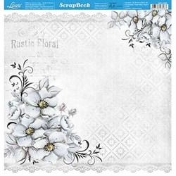 Folha Dupla Face Scrapbooking Lili Negrão SD1-080 Flores Cinza/Renda