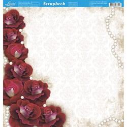 Folha Dupla Face Scrapbooking SD-003 Rosas Branca