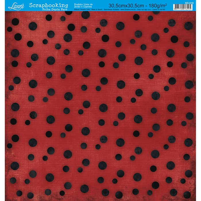 Folha Dupla Face Scrapbooking SD-018 Poá Preto com Vermelho
