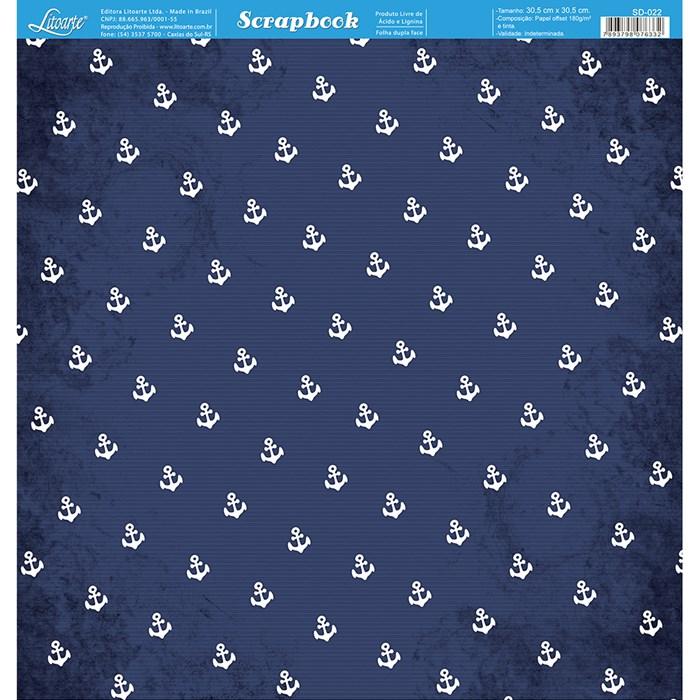Folha Dupla Face Scrapbooking SD-022 Mini Ancora FD Azul