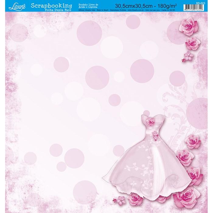Folha Dupla Face Scrapbooking SD-023 Vestido Dama Rosa