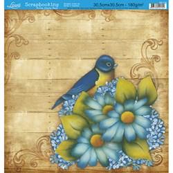 Folha Dupla Face Scrapbooking SD-139 Pássaro Azul