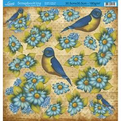Folha Dupla Face Scrapbooking SD-140 Pássaro e Flores Azul