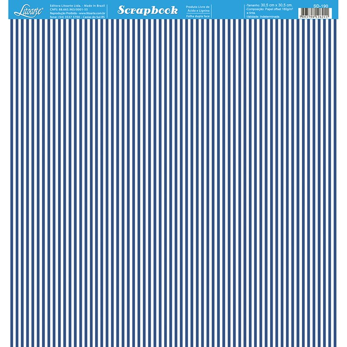 Folha Dupla Face Scrapbooking SD-190 Listras Azul Marinho e Branco