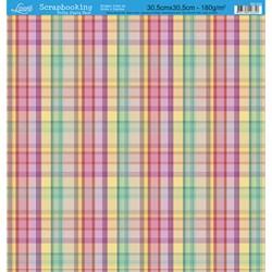 Folha Dupla Face Scrapbooking SD-204 Xadrez e Listras Coloridas