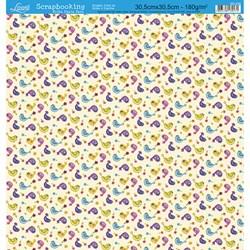 Folha Dupla Face Scrapbooking SD-238 Passarinhos e Bolinhas Coloridas