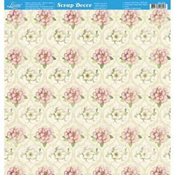 Folha Dupla Face Scrapbooking SD-475 Padrão de Flores Brancas e Rosas
