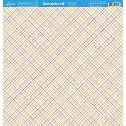 Folha Dupla Face Scrapbooking SD-492 Xadrez Rosa, Verde, Branco