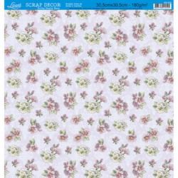 Folha Dupla Face Scrapbooking SD-528 Flores e Ornamentos Flores Lilás