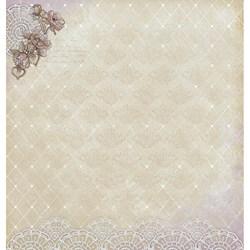 Folha Dupla Face Scrapbooking SD-534 Noiva Vintage com Flores e Renda