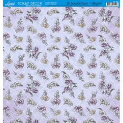 Folha Dupla Face Scrapbooking SD-535 Flores Fundo Lilás com Botone