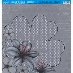 Folha Dupla Face Scrapbooking SD-544 Flores Cinza e Preto