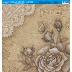 Folha Dupla Face Scrapbooking SD-546 Rosa Marrom Vintage com Renda