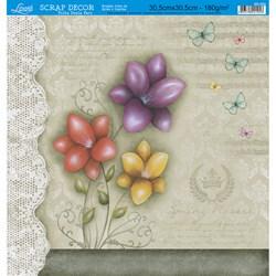 Folha Dupla Face Scrapbooking SD-550 Flores Coloridas FD Bege c/ Renda