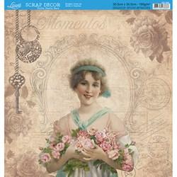 Folha Dupla Face Scrapbooking SD-596 Vintage Woman/ Jornal Carimbos