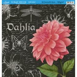 Folha Dupla Face Scrapbooking SD-600 Flor Dália Arte em Giz