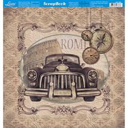 Folha dupla face Scrapbooking SD-780 Carro Antigo Vintage Roma
