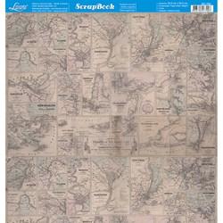 Folha dupla face Scrapbooking SD-783 Estampa Mapa Vintage EUA