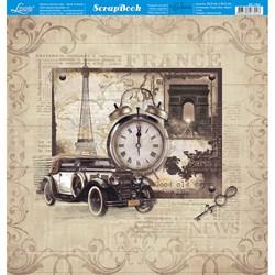 Folha dupla face Scrapbooking SD-784 Carro Antigo Relógio Vintage