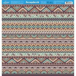 Folha dupla face Scrapbooking SD-902 Barrado Tribal Marrom e Verde