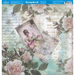 Folha Dupla Face Scrapbooking SD-953 Dama e Rosas Vintage