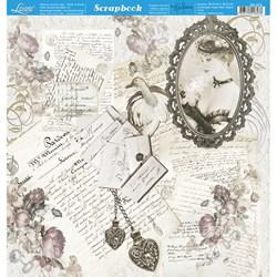 Folha Dupla Face Scrapbooking SD-972 Dama na Moldura e Cartas Vintage
