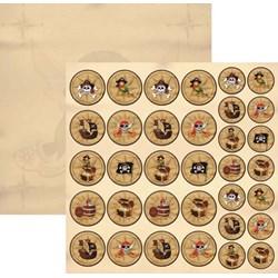 Folha Dupla Face Scrapbooking  (SDF516) 16198 Piratas Medalhões
