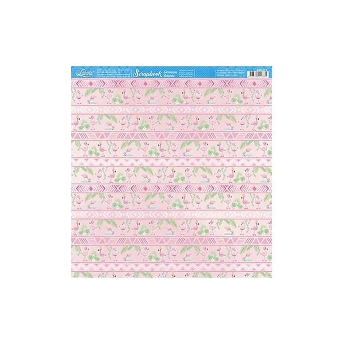 Folha Scrap Básico SBB-073 Flamingos e Padrão Tribal
