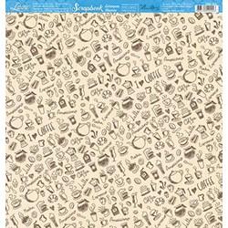 Folha Scrap Básico SBB-169 Elementos Café Fundo Bege