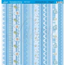 Folha Simples de Barras Scrapbook SB-006 Barras Baby Blue